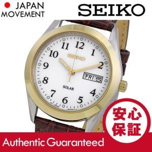 SEIKO (セイコー) SNE056 SOLAR/ソーラー ホワイトダイアル レザーベルト ブラウン メンズウォッチ 腕時計|goody-online