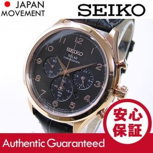SEIKO (セイコー) SSC566 SOLAR/ソーラー クロノグラフ ブラック×ゴールド レザーベルト メンズウォッチ 腕時計 【あす楽対応】|goody-online