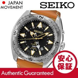 SEIKO (セイコー) SUN055 Kinetic/キネティック GMT ブラックダイアル レザーベルト ブラウン メンズウォッチ 腕時計|goody-online