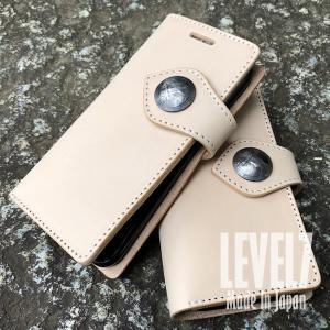 【メール便対応】 LEVEL7 スマホケース iPhoneXS iPhone8 iPhone7 iPhone6/6S用 iPhoneX 手帳型 本革 姫路レザー使用 コンチョ付フラップ IP7-B-NA goody-online