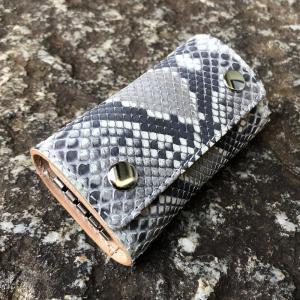 LEVEL7/レベルセブン KEY CASE/三つ折りキーケース ナチュラル ダイヤモンドパイソン マット 本革/レザー 日本製/MADE IN JAPAN ハンドメイド|goody-online