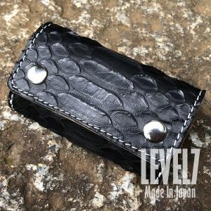 LEVEL7/レベルセブン KEY CASE/三つ折りキーケース ブラック レッドパイソン/ブラッドパイソン マット 本革/レザー ハンドメイド|goody-online