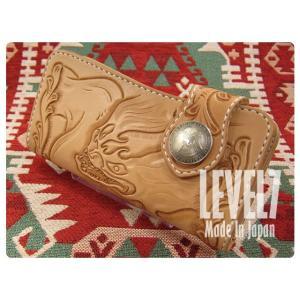デビルマンウォレット 財布 長財布/ハンドメイドロングウォレット デビルマンカービング 手縫い バイカーズウォレット LW003B2-DEVIL LEVEL7/レベルセブン|goody-online|02