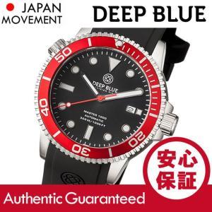 DEEP BLUE (ディープブルー) MASTER 1000FT防水 オートマチック SEIKO 自動巻き レッドベゼル ダイバーズウォッチ MAS1KREDBEZ 腕時計|goody-online