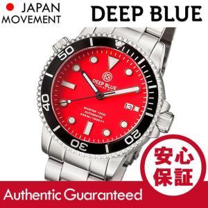 DEEP BLUE (ディープブルー) MASTER 1000FT防水 オートマチック SEIKO 自動巻き マットレッドダイアル ダイバーズウォッチ MAS1KREDMATBRACELET 腕時計|goody-online