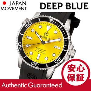 DEEP BLUE (ディープブルー) MASTER 1000FT防水 オートマチック SEIKO 自動巻き イエローダイアル ダイバーズウォッチ MAS1KYELSUN 腕時計|goody-online