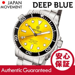 DEEP BLUE (ディープブルー) MASTER 1000FT防水 オートマチック SEIKO 自動巻き イエローダイアル ダイバーズウォッチ MAS1KYELSUNBRACELET 腕時計|goody-online