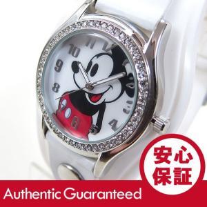 Disney (ディズニー) MCKAQ1307 MICKEY/ミッキーマウス アナログ ストーン装飾 ホワイト キッズ・子供 かわいい! レディースウォッチ 腕時計 【あすつく】|goody-online