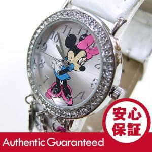 Disney (ディズニー) MIN031 MICKEY/ミッキーマウス ミニーマウス ストーン装飾 ホワイト キッズ・子供 かわいい! レディースウォッチ 腕時計|goody-online
