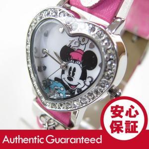 Disney (ディズニー) MIN151 MICKEY/ミッキーマウス ミニーマウス ストーン装飾 ハート ピンク キッズ・子供 かわいい! レディース 腕時計 【あすつく】|goody-online