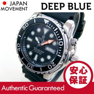 DEEP BLUE (ディープブルー) PTAUTOBLK Pro Tac Diver 1000m防水 ダイバーズ 日本製 Seiko NH36 自動巻きムーブメント ブラックダイアル 腕時計|goody-online