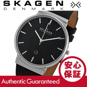SKAGEN (スカーゲン) SKW6104 Ancher/アンカー スリム  レザーベルト ブラック×シルバー メンズウォッチ 腕時計|goody-online