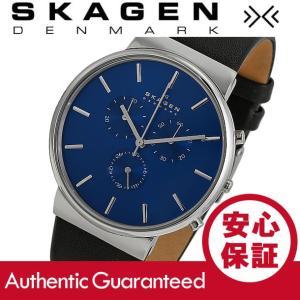 SKAGEN (スカーゲン) SKW6105 Ancher/アンカー クロノグラフ  レザーベルト ブルーダイアル メンズウォッチ 腕時計|goody-online