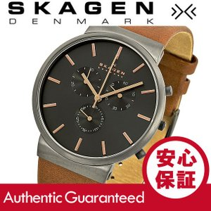 SKAGEN (スカーゲン) SKW6106 Ancher/アンカー クロノグラフ  レザーベルト グレーダイアル メンズウォッチ 腕時計|goody-online