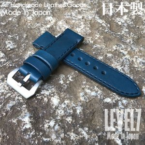 【選べる3サイズ/幅22/24/26MM】 パネライ スタイル オイル染料仕上げ ヌメ革/レザーベルト  総手縫い バックル付き 腕時計 替えベルト SPT-H002C6-BLBK|goody-online