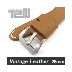 【26MM 140-180MM】 T2N Strap (T2Nストラップ) T2N-1068 本革ベルト ヴィンテージ クラシック ハンドメイド タンカラー 替え ストラップ 腕時計用|goody-online