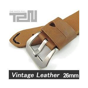 【26MM 140-180MM】 T2N Strap (T2Nストラップ) T2N-1071 本革ベルト ヴィンテージ クラシック ハンドメイド タンカラー 替え ストラップ 腕時計用 goody-online