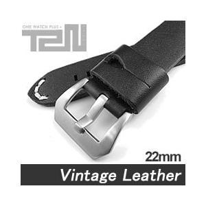 【22MM 140-180MM】 T2N Strap (T2Nストラップ) T2N-1073 本革ベルト ヴィンテージ クラシック ハンドメイド ブラック 替え ストラップ 腕時計用 goody-online