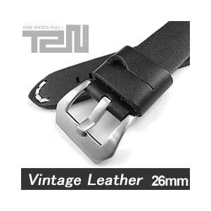 【26MM 140-180MM】 T2N Strap (T2Nストラップ) T2N-1074 本革ベルト ヴィンテージ クラシック ハンドメイド ブラック 替え ストラップ 腕時計用|goody-online