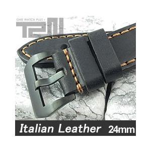 【24MM 140-180MM】 T2N Strap (T2Nストラップ) T2N-1132PVB イタリアンレザーベルト ヴィンテージ クラシック ブラック 替えベルト 腕時計用 【あすつく】|goody-online