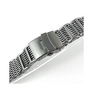 【Omega(オメガ)スタイル ステンレスメッシュベルト 20MM/22MM/24MM】 T2N Strap SHARK MESH T2N-12WHI-T チタンカラー Dバックル 替えベルト 腕時計用|goody-online