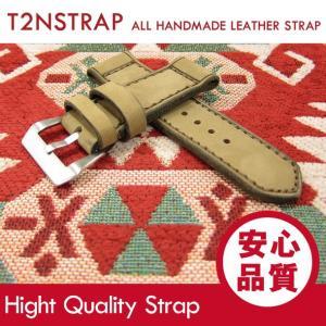 【パネライ (PANERAI) スタイル】T2N Strap ハンドメイド ヴィンテージ 手縫い レザーベルト 26mm幅 ベージュ系 替えベルト 腕時計用 goody-online
