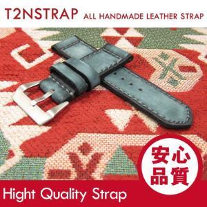 【パネライ (PANERAI) スタイル】T2N Strap ハンドメイド ヴィンテージ 手縫い レザーベルト 26mm幅 ブルー系 替えベルト 腕時計用 goody-online