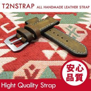 【パネライ (PANERAI) スタイル】T2N Strap ハンドメイド ヴィンテージ 手縫い レザーベルト 26mm幅 ブラウン系 替えベルト 腕時計用 goody-online