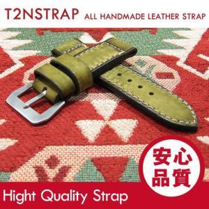 【パネライ (PANERAI) スタイル】T2N Strap ハンドメイド ヴィンテージ 手縫い レザーベルト 26mm幅 グリーン系 替えベルト 腕時計用 goody-online
