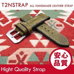 【パネライ (PANERAI) スタイル】T2N Strap ハンドメイド ヴィンテージ 手縫い レザーベルト 26mm幅 カモフラージュ 替えベルト 腕時計用|goody-online