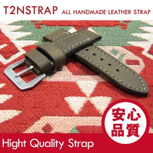 【パネライ (PANERAI) スタイル】T2N Strap ハンドメイド ヴィンテージ 手縫い レザーベルト 26mm幅 グレー系 替えベルト 腕時計用 goody-online