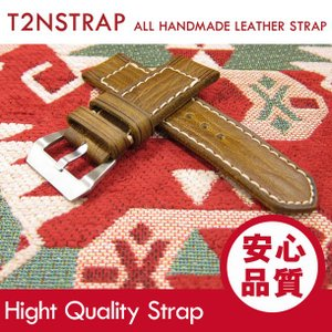 【パネライ (PANERAI) スタイル】T2N Strap ハンドメイド ヴィンテージ 手縫い レザーベルト 26mm幅 ライトブラウン系 替えベルト 腕時計用|goody-online