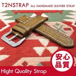 【パネライ (PANERAI) スタイル】T2N Strap ハンドメイド ヴィンテージ 手縫い レザーベルト 26mm幅  ライト ブラウン系 替えベルト 腕時計用|goody-online