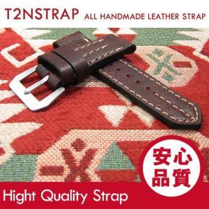 【パネライ (PANERAI) スタイル】T2N Strap ハンドメイド ヴィンテージ 手縫い レザーベルト 26mm幅 レッド系 替えベルト 腕時計用 goody-online