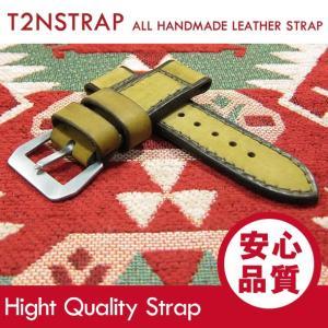 【パネライ (PANERAI) スタイル】T2N Strap ハンドメイド ヴィンテージ 手縫い レザーベルト 26mm幅 T2N-26PLYE1  レザー イエロー系 替えベルト 腕時計用|goody-online