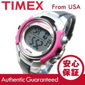 TIMEX (タイメックス) T5K646 Marathon/マラソン デジタル ラバーベルト ピンク×シルバー レディースウォッチ 腕時計