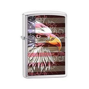 ZIPPO(ジッポー) 28652 Eagle & Flag/ミリタリー Brushed Chrome/ブラッシュ つや消し FULL SIZE ZIPPO LIGHTER/ジッポライター【あすつく】|goody-online