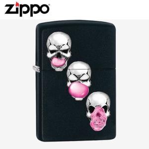 ZIPPO(ジッポー) 29398 SKULLS-BUBBLE GUM/スカル バブルガム Black Matte/マットブラック FULL SIZE ZIPPO LIGHTER/ジッポライター|goody-online