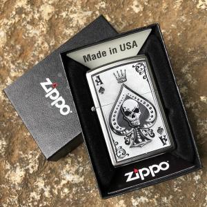 ZIPPO(ジッポー) 4858 Ace of Spades-Skull/スカル シルバー FULL SIZE ZIPPO LIGHTER/ジッポライター 【あすつく】|goody-online