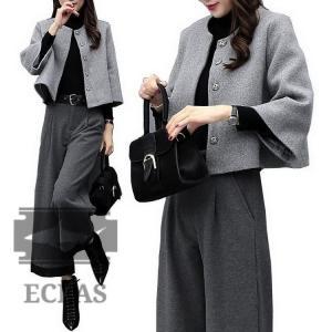 セットアップ 大きいサイズ グレー&ブラック パンツスーツ ママ セレモニー レディース 服 フォー...