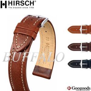 HIRSCH/BUFFALO ヒルシュ/バッファロー 腕時計交換ベルト 18mm/20mm/22mm/24mm カーフレザー h6 googoods