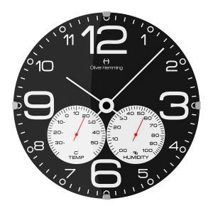 壁掛け時計 掛時計 イギリスデザイン Oliver Hemming オリバー・ヘミング W300DG51BWTW 温度計 湿度計 おしゃれ 引越し 新築 祝い プレゼント googoods