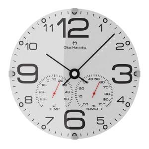 壁掛け時計 掛時計 イギリスデザイン Oliver Hemming オリバー・ヘミング W300DG51WTB 温度計 湿度計 おしゃれ 引越し 新築 祝い プレゼント googoods