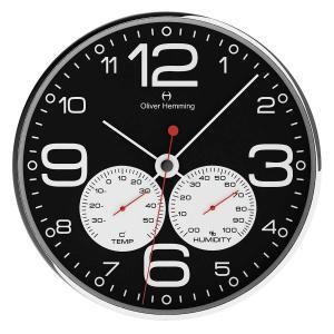 壁掛け時計 掛時計 イギリスデザイン Oliver Hemming オリバー・ヘミング  W300S51BWTW 温度計 湿度計 おしゃれ 引越し 新築 祝い プレゼント googoods