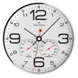壁掛け時計 掛時計 イギリスデザイン Oliver Hemming オリバー・ヘミング  W300S51WTB 温度計 湿度計 おしゃれ 引越し 新築 祝い プレゼント googoods