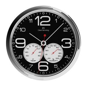 壁掛け時計 掛時計 イギリスデザイン Oliver Hemming オリバー・ヘミング W360S51BWTW 温度計 湿度計 おしゃれ 引越し 新築 祝い プレゼント googoods