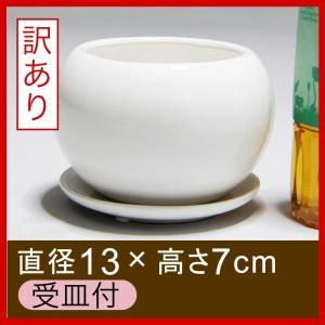 植木鉢 おしゃれ 陶器鉢 ポッコリ 丸型 4号 鉢カバー 受皿付 白  色ムラ・カケ・クボミ・ピンホ...