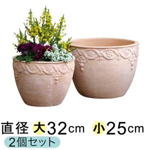 植木鉢 おしゃれ 模様入り丸型HM白粉 素焼き鉢 テラコッタ 大小2個セット