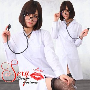 女医 コスプレ 白衣 衣装 セクシー ナース 服 長袖 レディース ハロウィン 看護婦 ナースコス 仮装 かわいい 聴診器|goovice