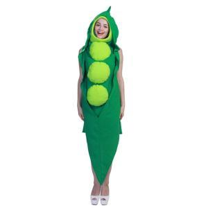 野菜 コスプレ 面白い ハロウィン エンドウ豆 着ぐるみ おもしろ コスチューム 豆 マメ 衣装 おもしろい 仮装|goovice